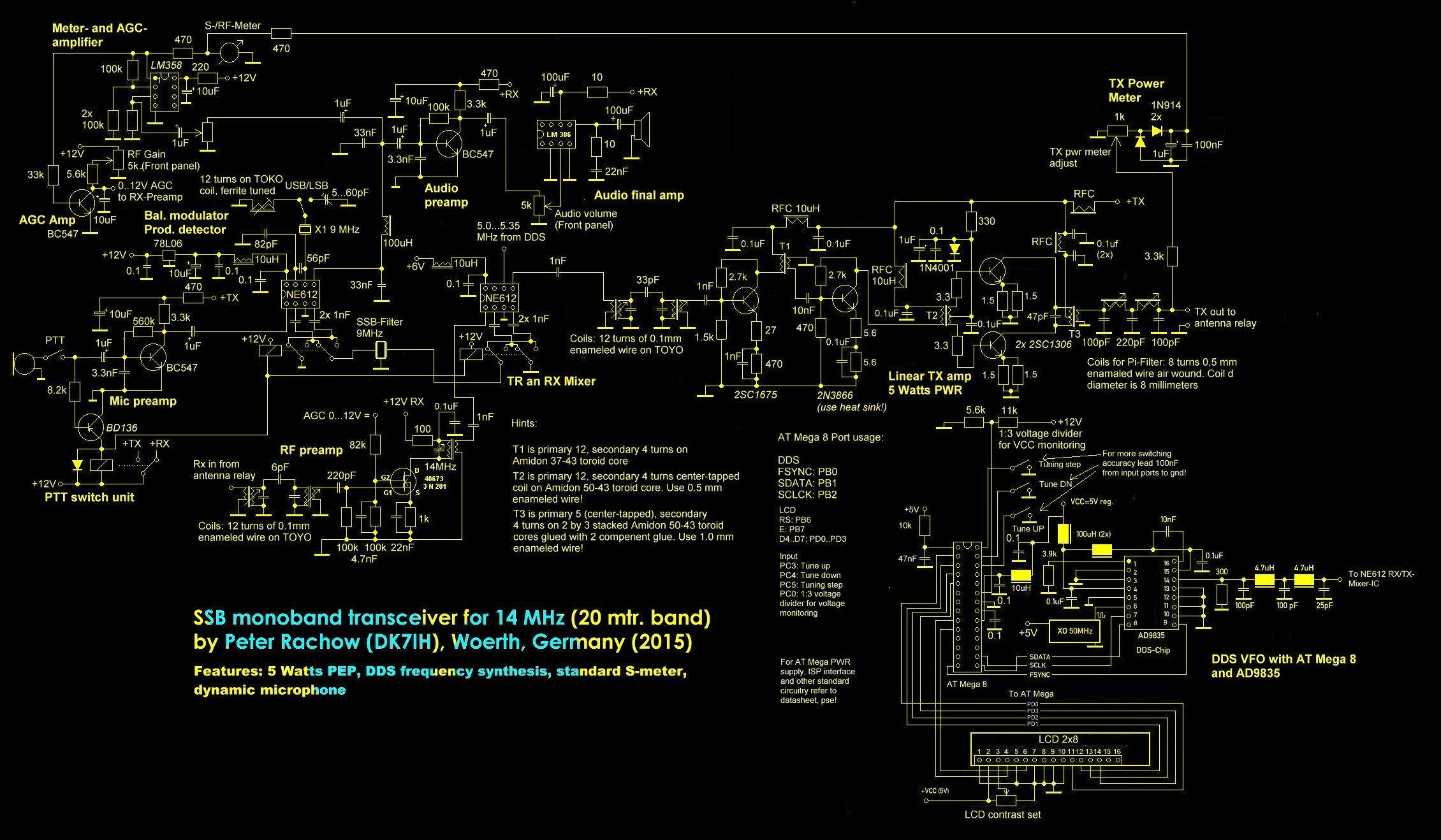 Schaltplan (Schematic) QRP SSB Transceiver 20 Meter 14 MHz by DK7IH (Peter Rachow)