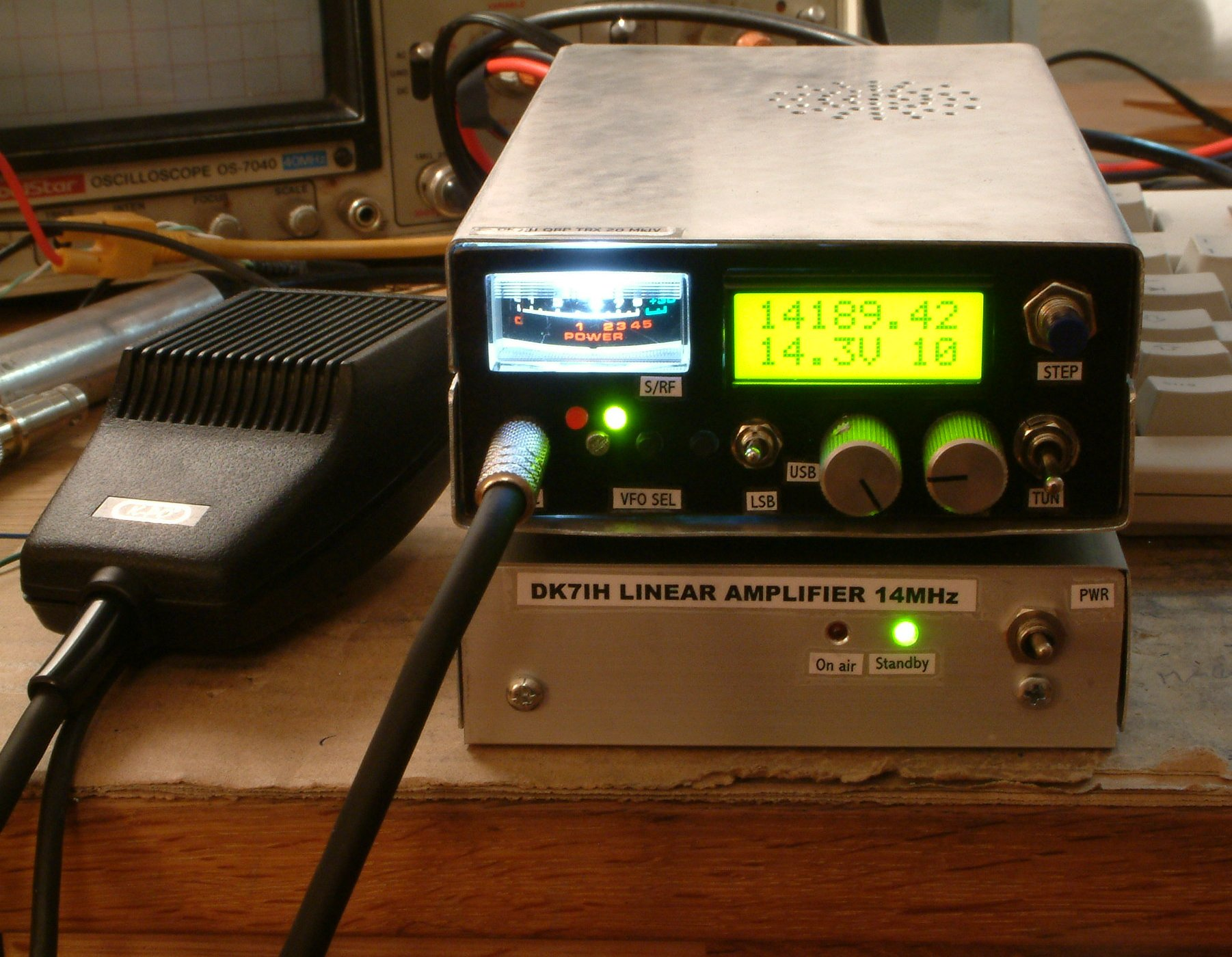 14 MHz (20 Meter) rig consisting of small SSB transceiver and linear amplifier PA (C) DK7IH Peter Rachow