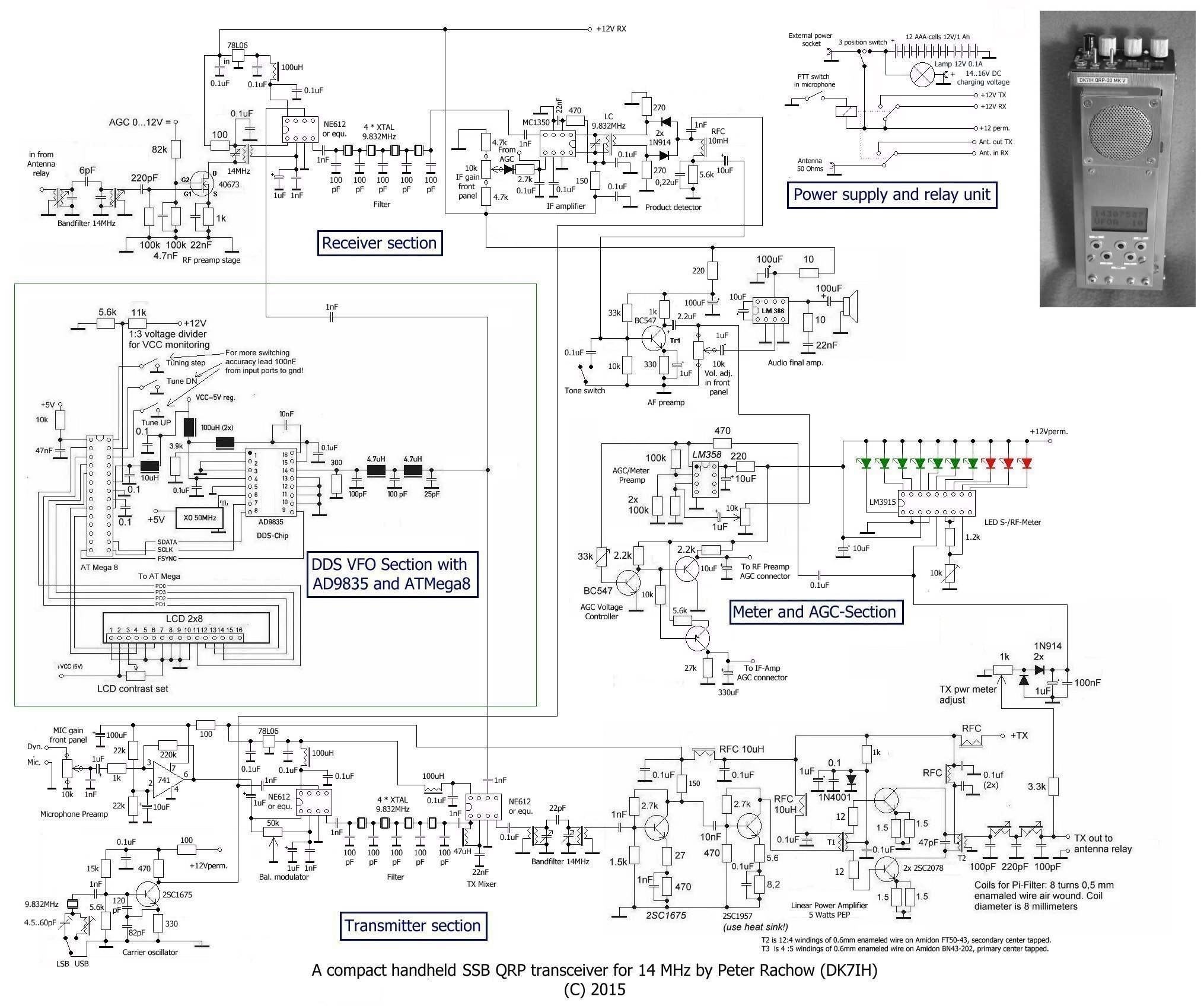 Revised schematic of QRP SSB handheld transceiver for 14 MHz/20Meter by DK7IH (Peter Rachow)