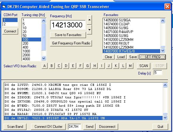 Computer aided tuning for QRP SSB transceiver and PC (written in VB5)
