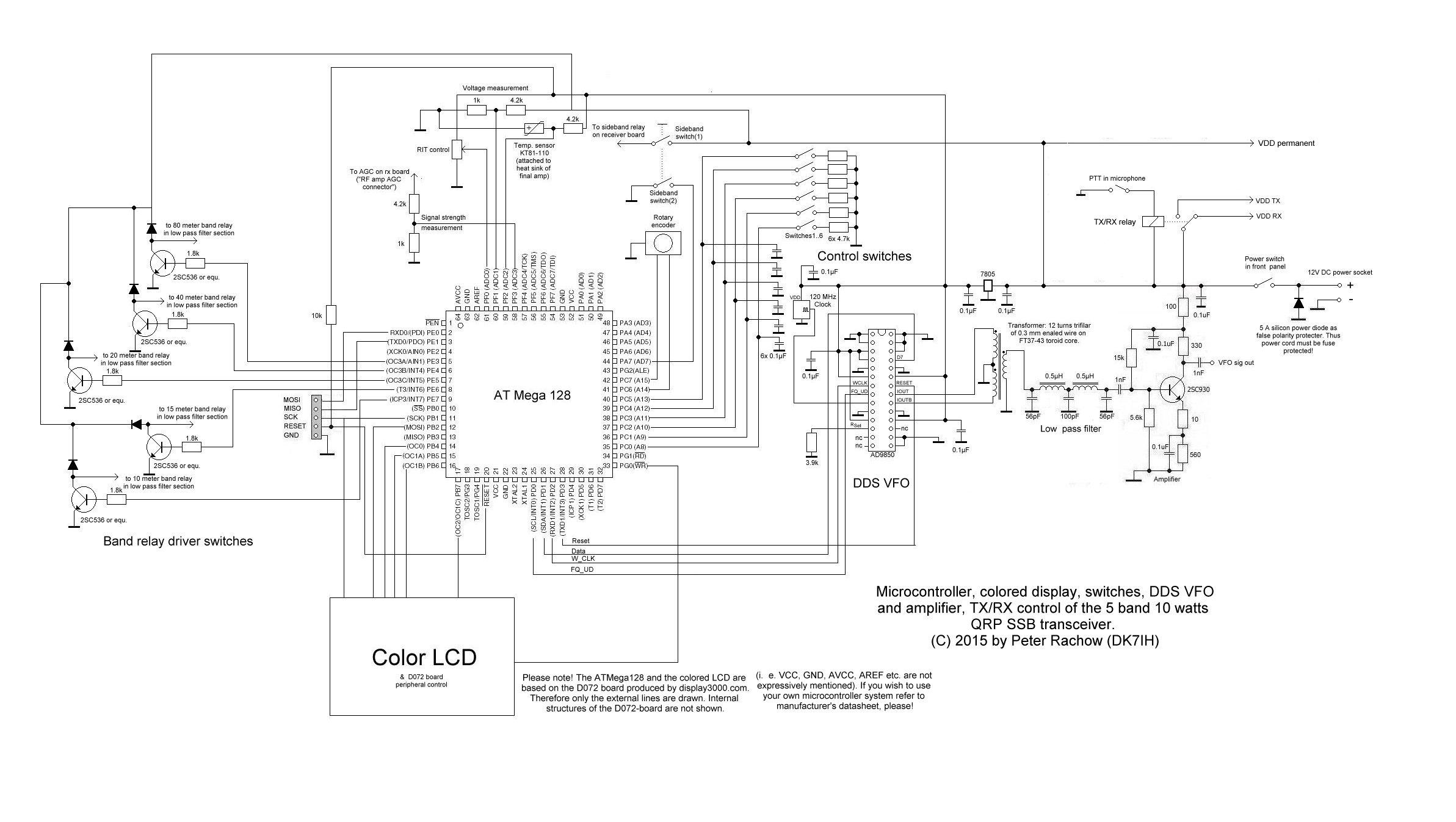 AT Mega 128, AD9835, D072 Display Modul for 5 band QRP SSB transceiver (C) 2015 Peter Rachow (DK7IH)