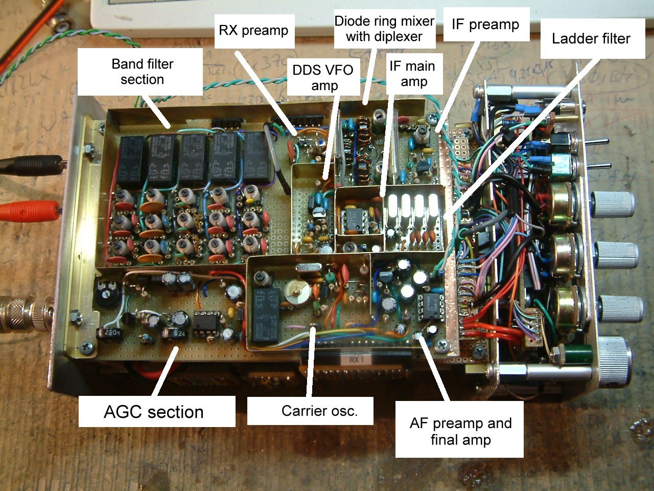 Receiver section for 5 band qrp transceiver by DK7IH (Peter Rachow)