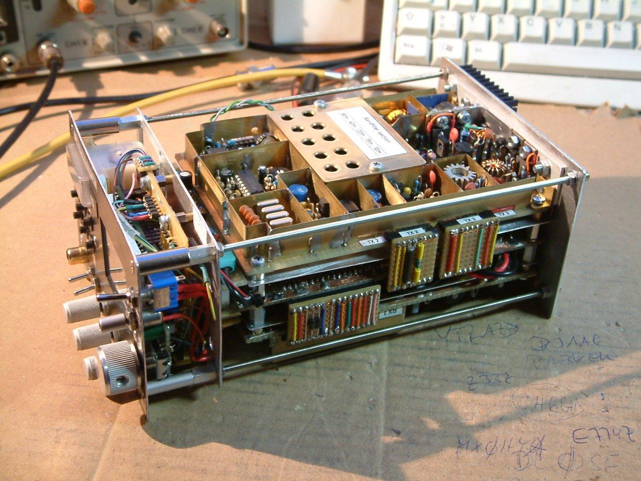 5 band 10 watts QRP SSB transceiver, sandwich construction ( (C) 2016 Peter Rachow - DK7IH)
