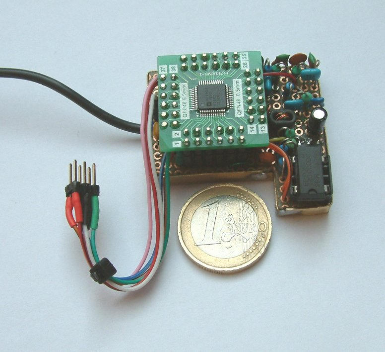 DDS module with AD9951 mounted on a small veroboard (C) DK7IH 2016