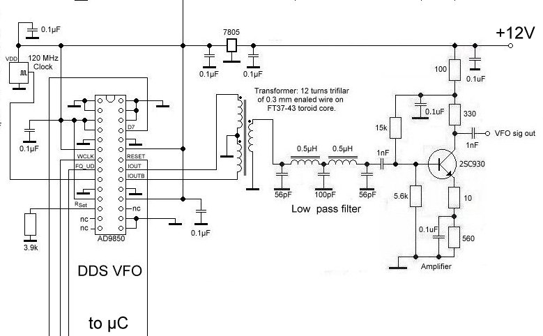 DDS and amplifier for QRP SBB multi band transceiver (C) 2015 DK7IH