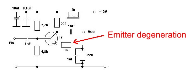 Emitter degeneration in a transistor amplifier stage