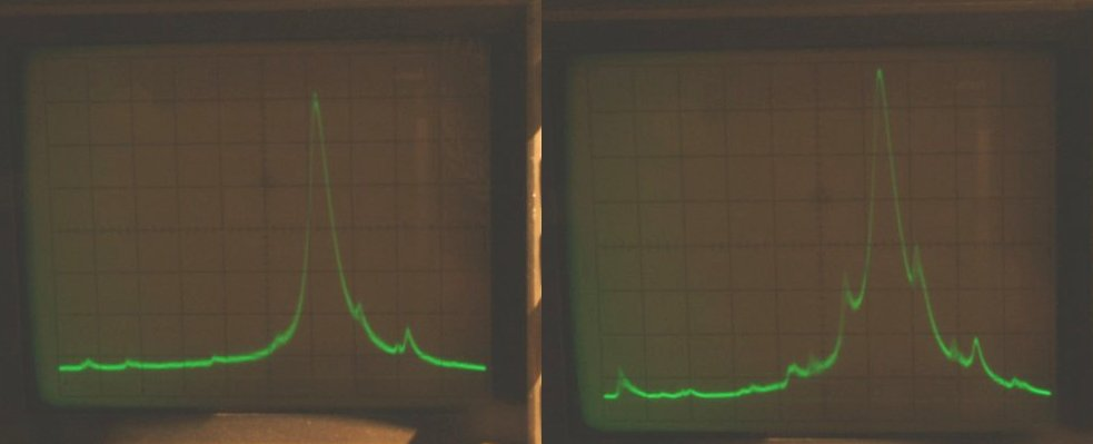 Spectral analysis of output signal of transmitter at 14MHz. Left picture p.out=10 Watts.  Right picture amp is overdriven. Vertical division 10db each.