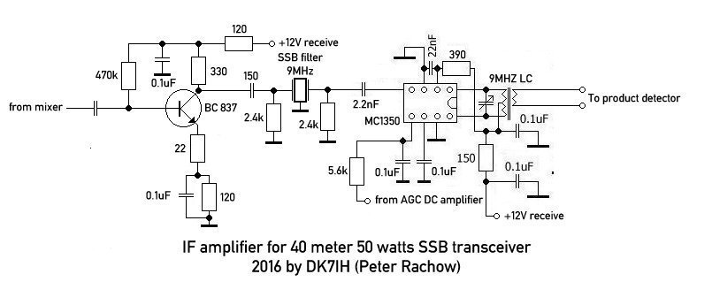 Homemade SSB amateur radio transceiver 40 meters (IF amplifier) Homemade SSB amateur radio transceiver 40 meters (IF amplifier with bipolar transistor and MC1350)