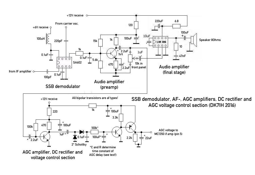 Homemade SSB amateur radio transceiver 40 meters (SSB demodulator, AF, AGC section)