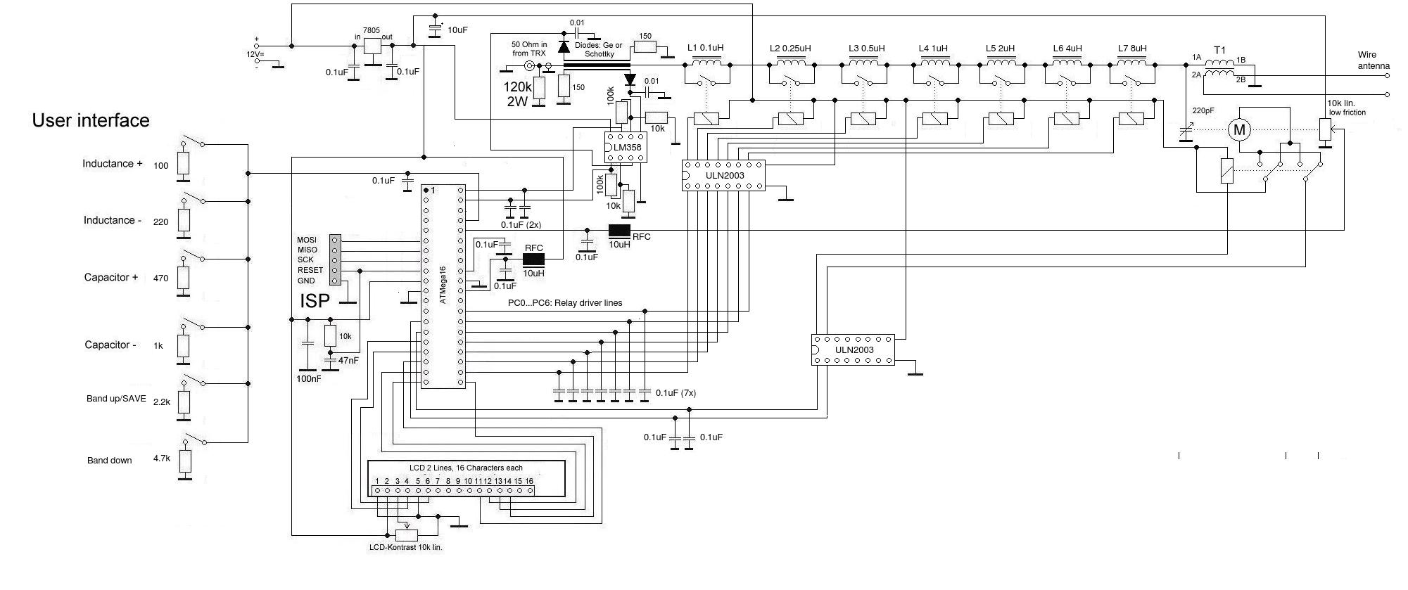 DK7IH semi automatic antenna tuner V2 (schematic)