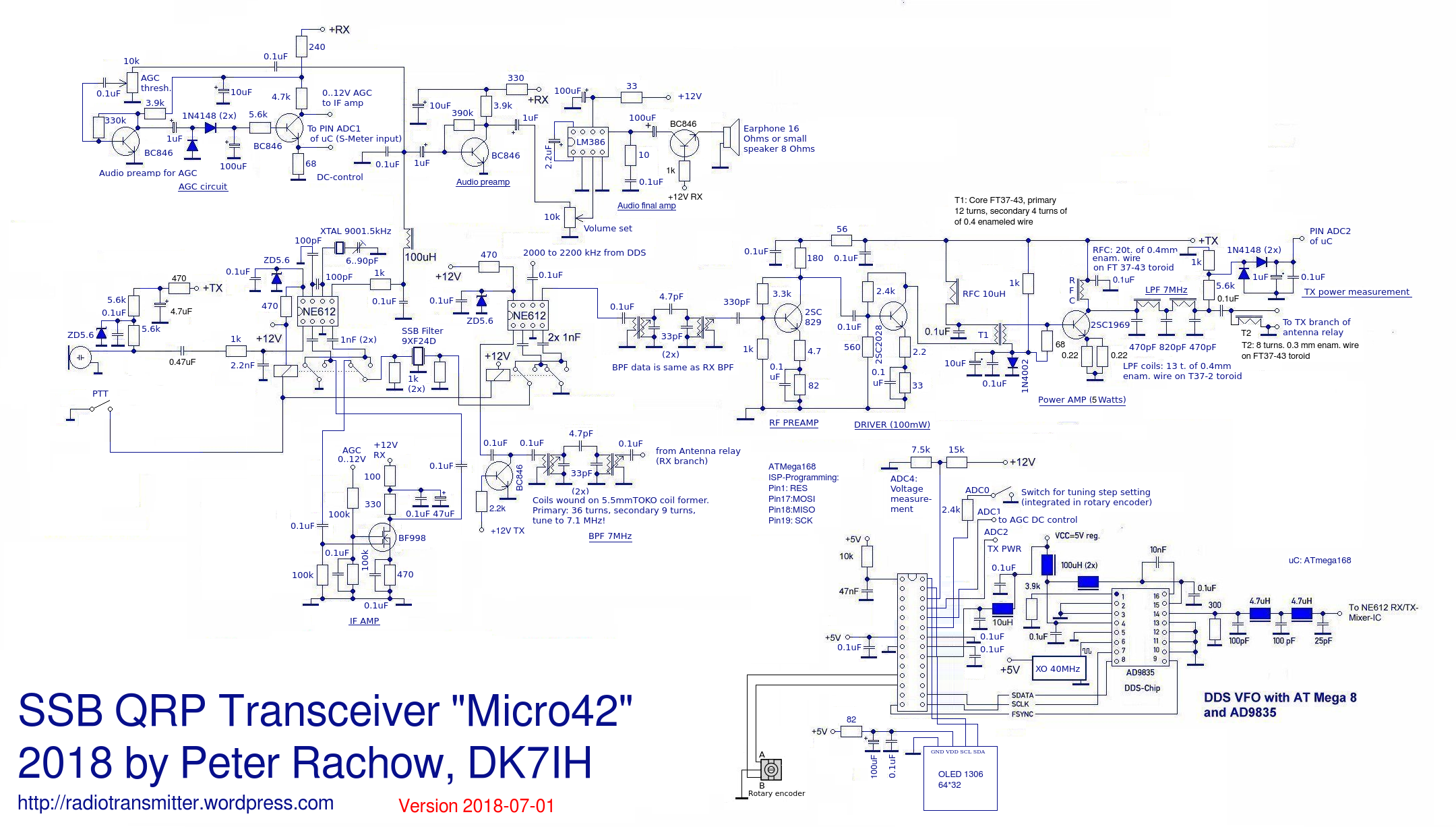 Schematic - The Micro42 - A really shirt pocket sized QRP SSB transceiver
