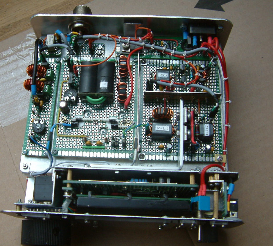 DK7IH QRO SSB transceiver for 7MHz/40m - TX LPF, PA, Drivers, RX/TX switch board.