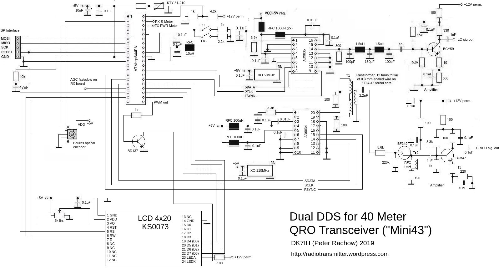 DK7IH QRO SSB transceiver for 7MHz/40m - Dual DDS (VFO and LO)
