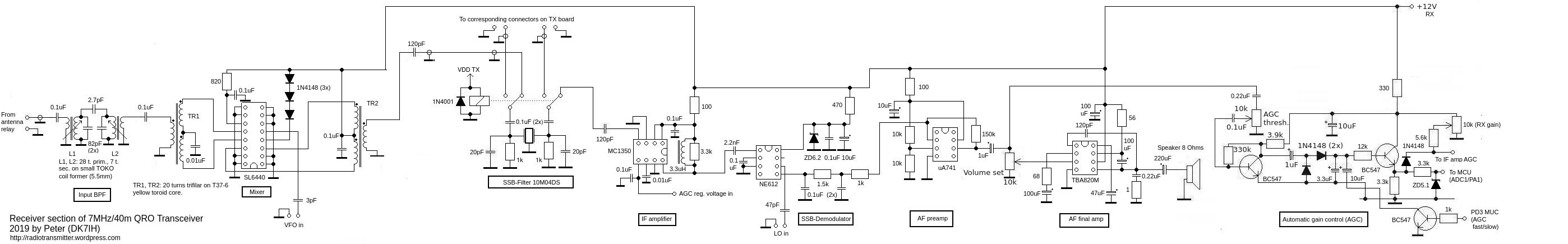 DK7IH 7MHz QRO SSB transceiver - Receiver section (Version 2)