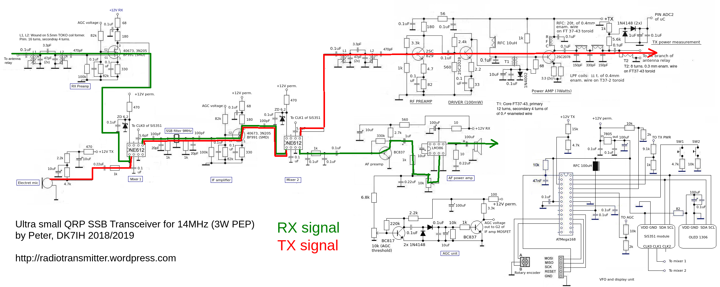 """DK7IH microsize QRP SSB transceiver (""""Micro24"""") for 14 MHz - Signal flow on receive and transmit"""