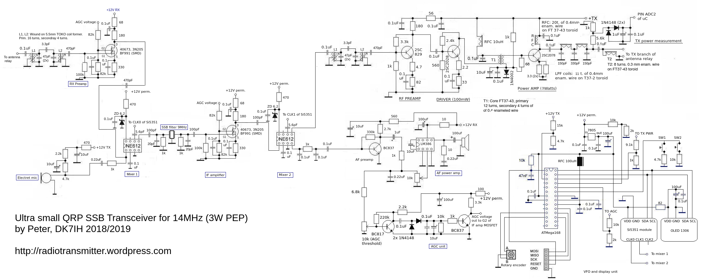 """DK7IH microsize QRP SSB  transceiver (""""Micro24"""") for 14 MHz - Schematic"""