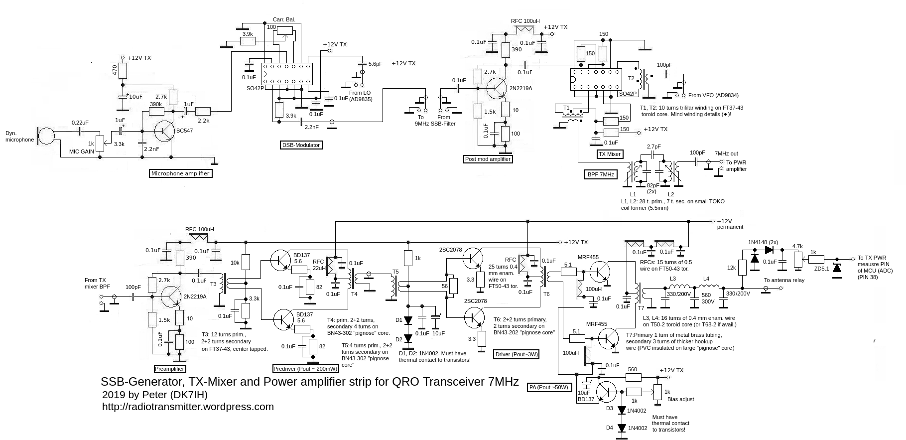 DK7IH QRO SSB transceiver for 7MHz/40m - The Transmitter