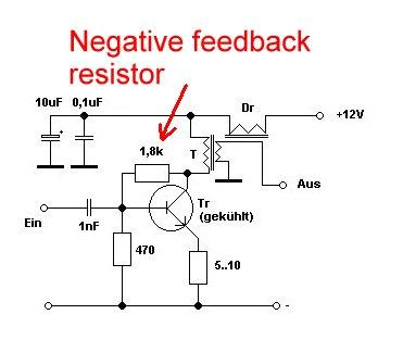 Negative feedback in a transistor amplifier stage