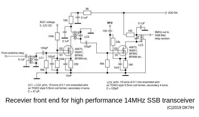 DK7IH - High performance Transceiver 14MHz- Receiver Frontend & Mixer