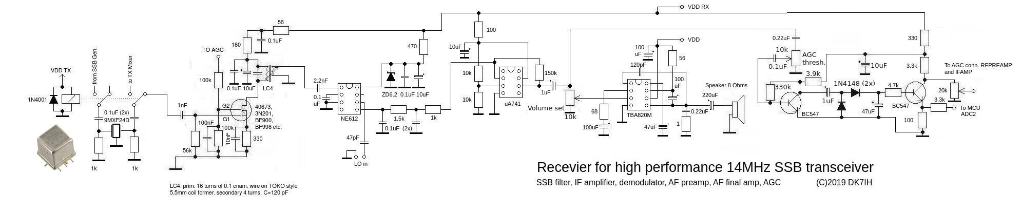 DK7IH - High performance Transceiver 14MHz- Receiver - SSB filter, IF amp, ddemodulator, AF preamp, AF final amp, AGC.