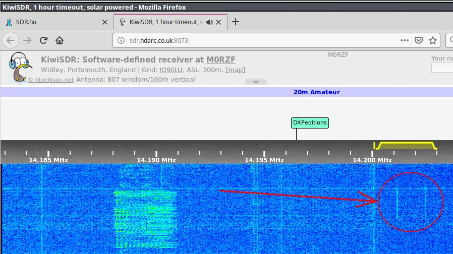 SSB signal to dummyload received on UK WEBSDR (PWR 20 watts PEP)