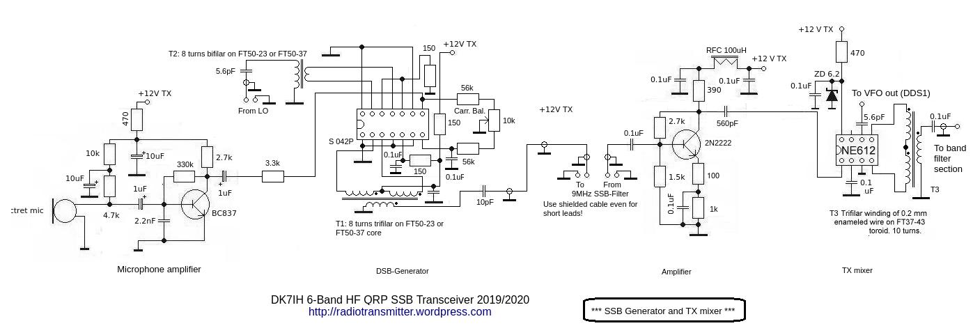DK7IH 6 band QRP SSB TRX 2019 - SSB Generator and TX mixer