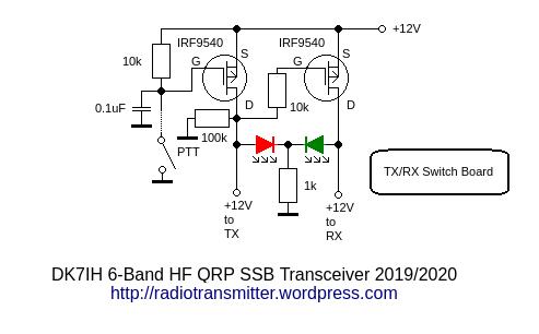 DK7IH 6 band QRP SSB TRX 2019 - Transit/Receive Switch Unit
