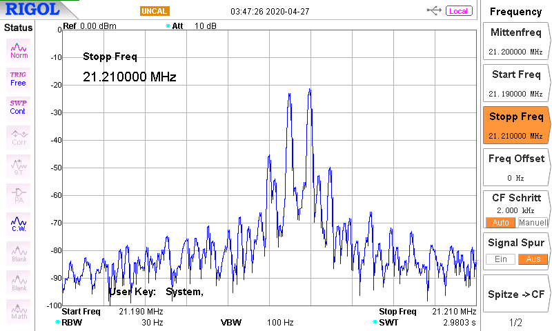 DK7IH 5 band QRP SSB transceiver 2020 - Spectral analysis of output signal (audio two-tone modulated)