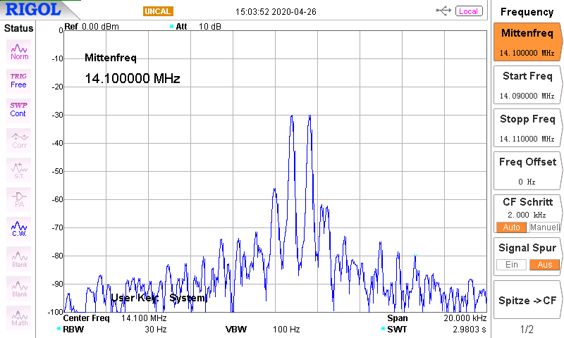 DK7IH 5 band QRP SSB transceiver 2020 - Spectral analysis of output signal (audio two-tone modulated) 20m