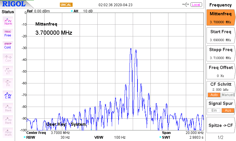 DK7IH 5 band QRP SSB transceiver 2020 - Spectral analysis of output signal (audio two-tone modulated) 80m